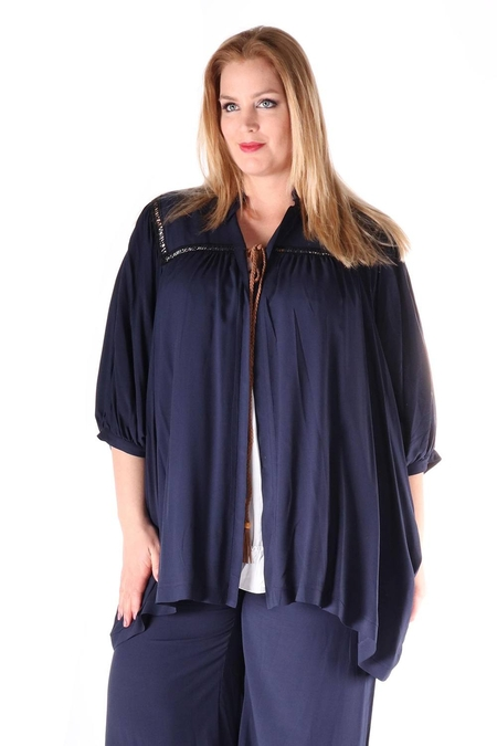 Blouse Mat fashion vlecht koord hals