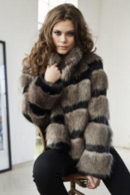Jas Etage fake fur kort streep