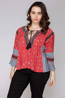 Blouse October print veter hals