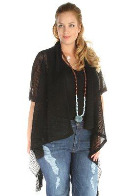 Vest Mat fashion brei stof combi