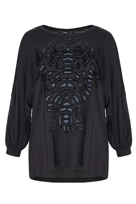 Tuniek Mat fashion velvet opdruk