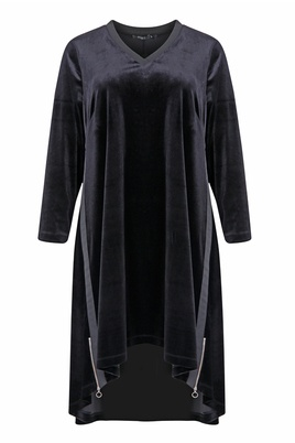 Jurk Mat fashion velour zijritsen