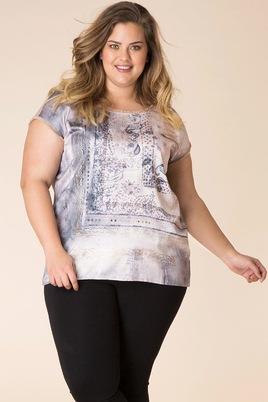 Shirt Yesta glans print voor