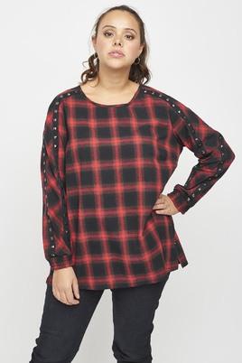 Adia blouse ruit met studs