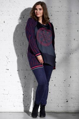 Shirt Adia satijn print paneel voor